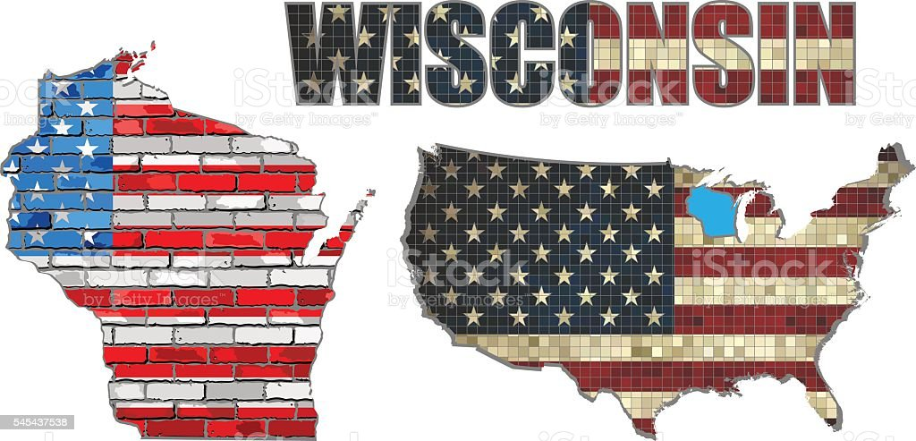 USA state of Wisconsin on a brick wall vector art illustration
