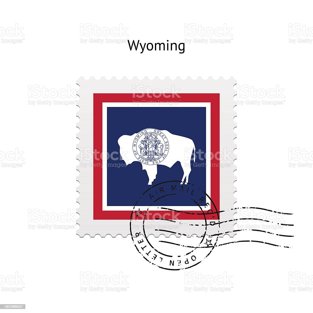 State of Wyoming flag postage stamp. royalty-free stock vector art