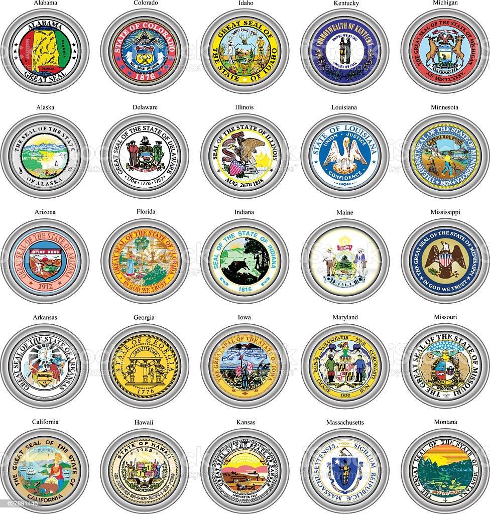 States of USA seals. vector art illustration