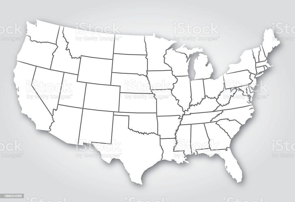 USA States Silhouette White vector art illustration