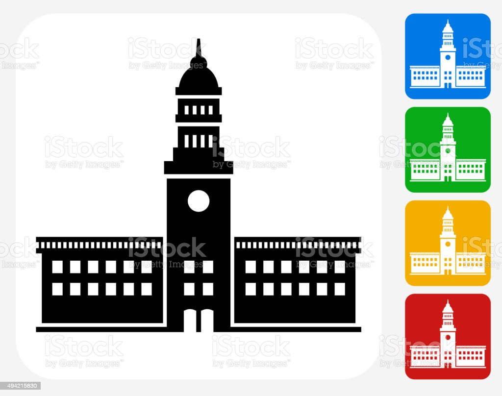 Station Icon Flat Graphic Design vector art illustration