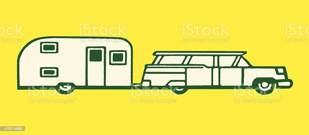 Station Wagon Towing an Airstream Trailer vector art illustration