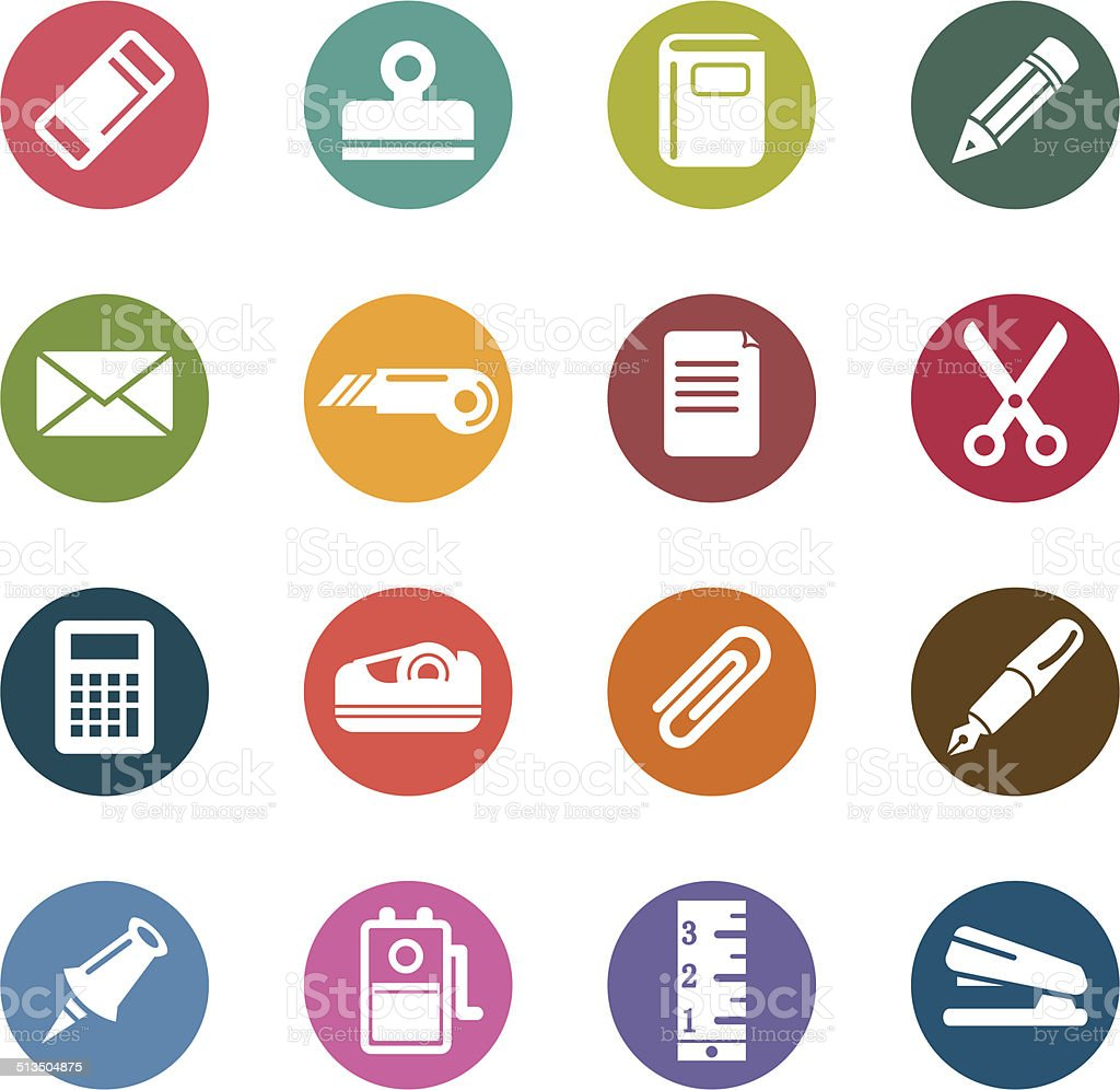 Stationary Color Icons vector art illustration