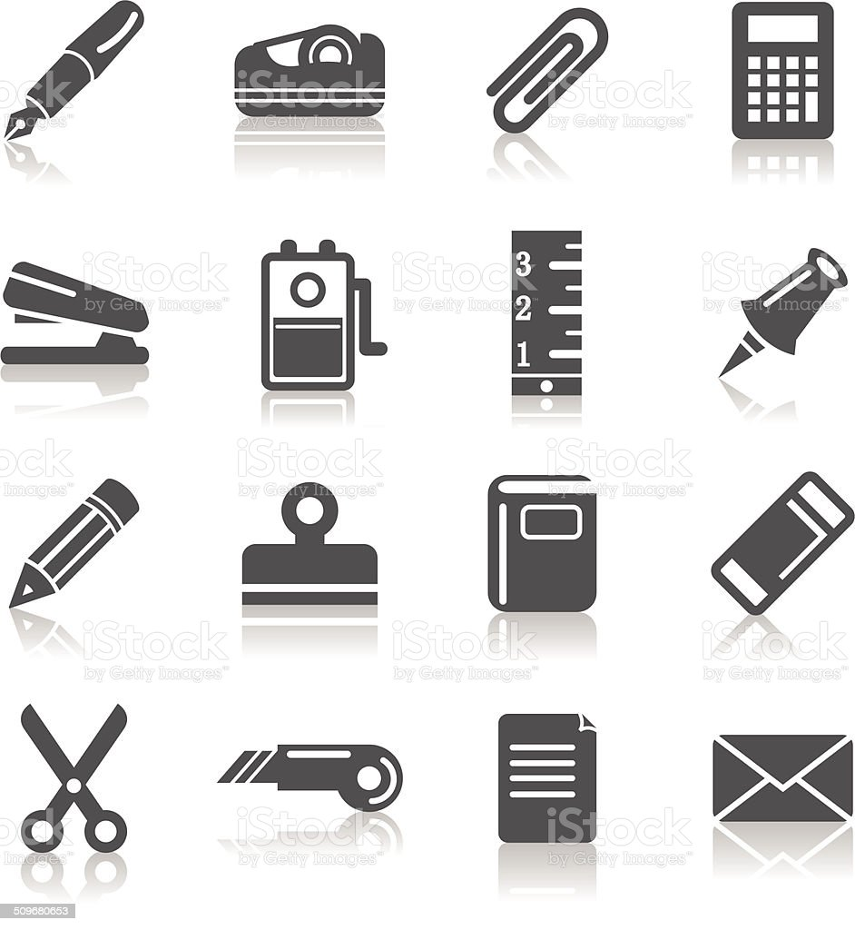 Stationary Icons vector art illustration