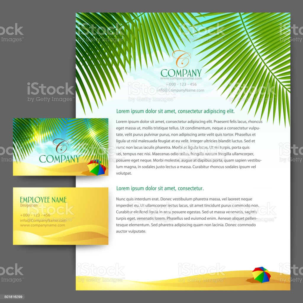Stationary set Letterhead with Card royalty-free stock vector art