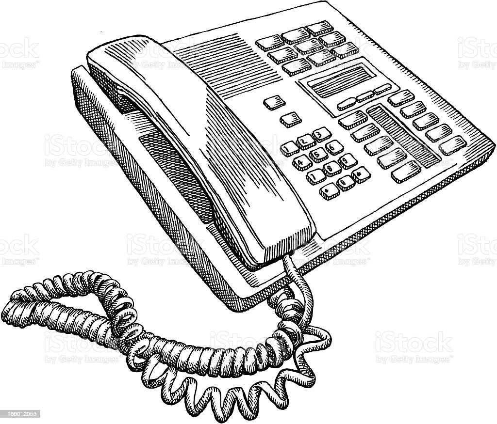 Stationary Telephone vector art illustration
