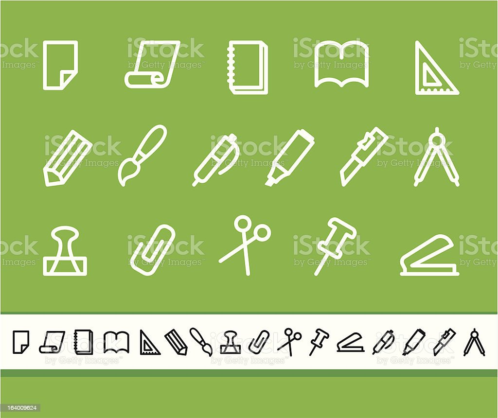 Stationery and office icons royalty-free stock vector art
