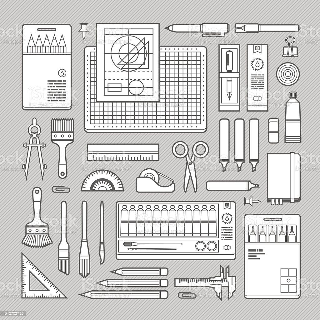 Stationery & Art Supplies Set vector art illustration