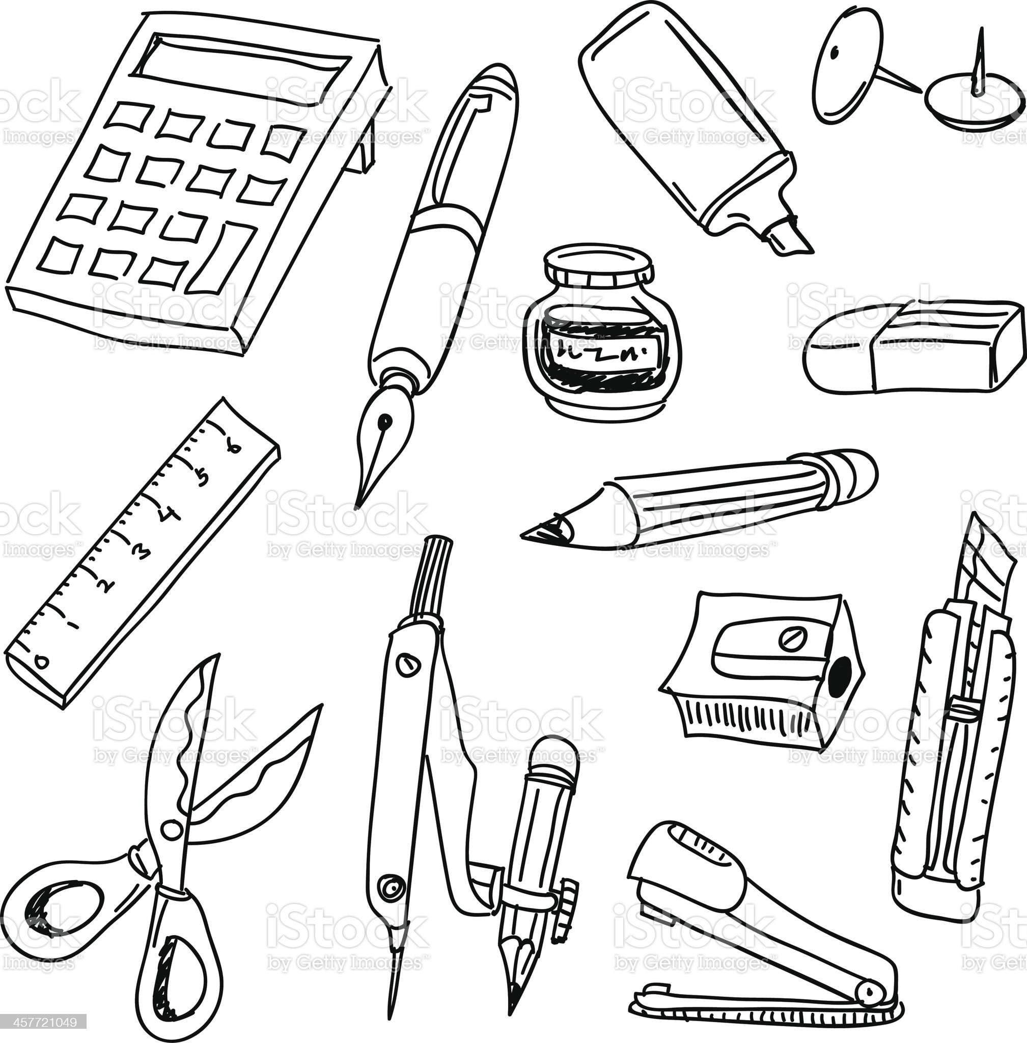Stationery collection in black and white royalty-free stock vector art