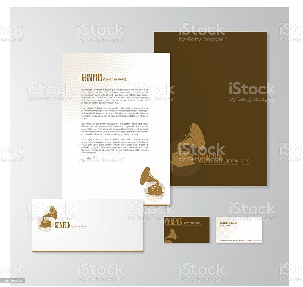 Stationery design with a gramophone vector art illustration