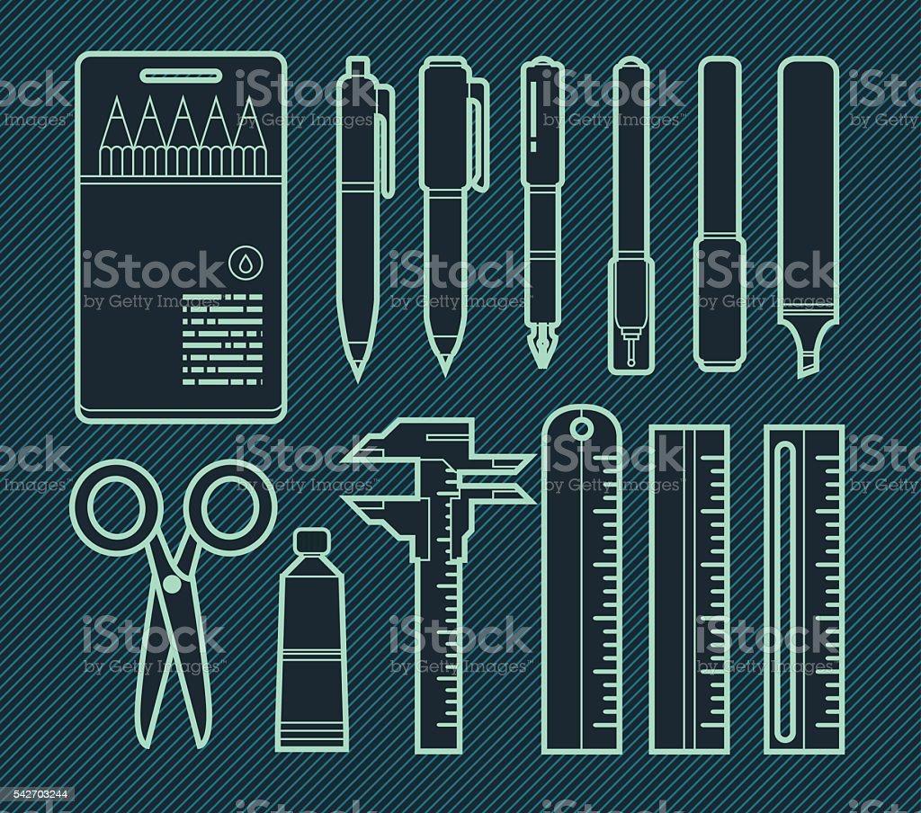 Stationery Flat Design Set vector art illustration