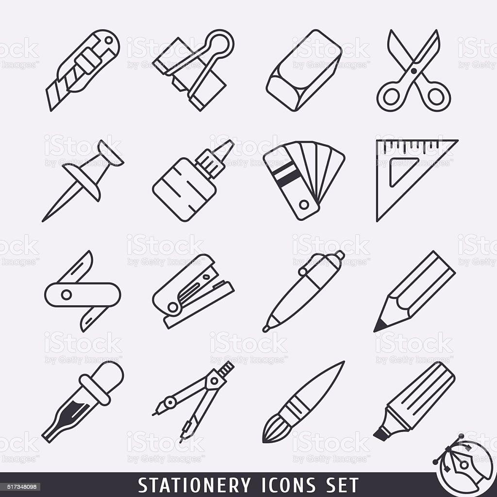 Stationery icons set black and white lineart vector art illustration