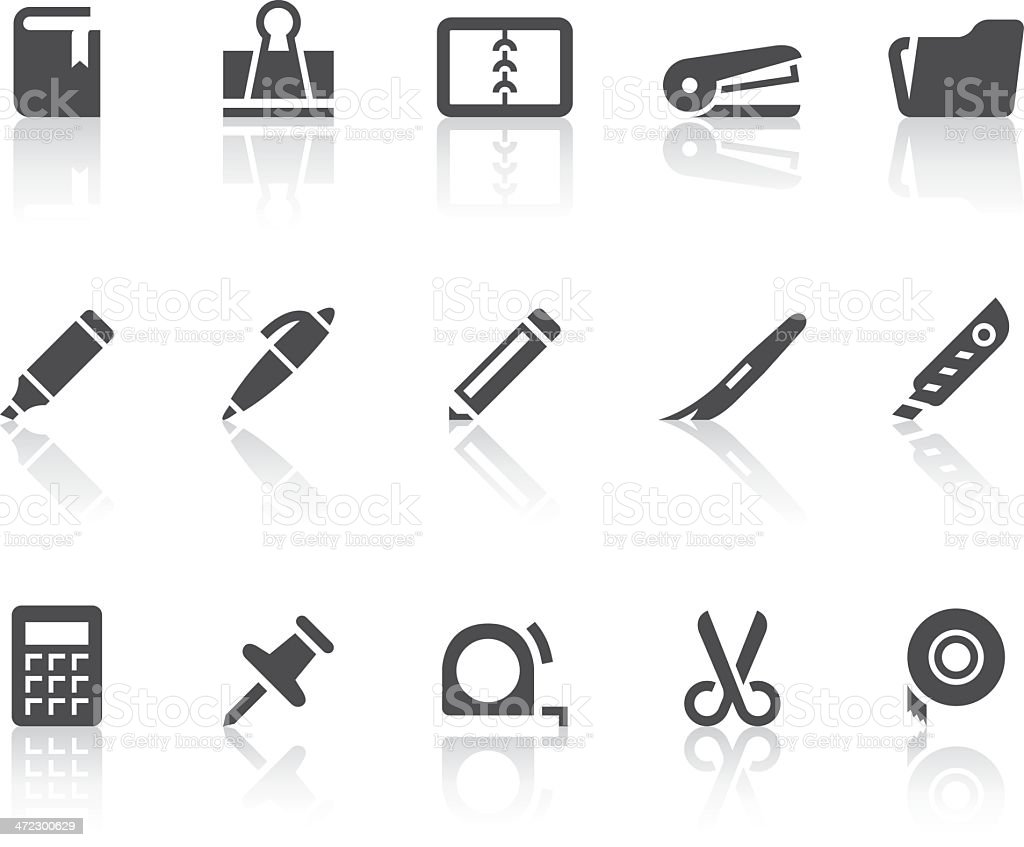 Stationery Icons | Simple Black Series royalty-free stock vector art