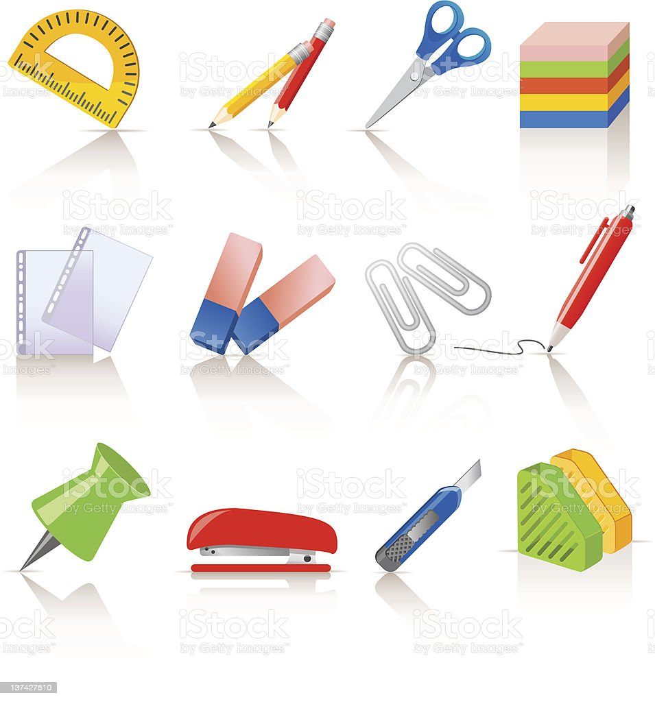 Stationery icons royalty-free stock vector art