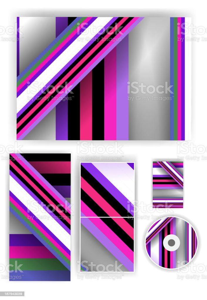 Stationery set for your design, colorful digital Illustration. royalty-free stock vector art