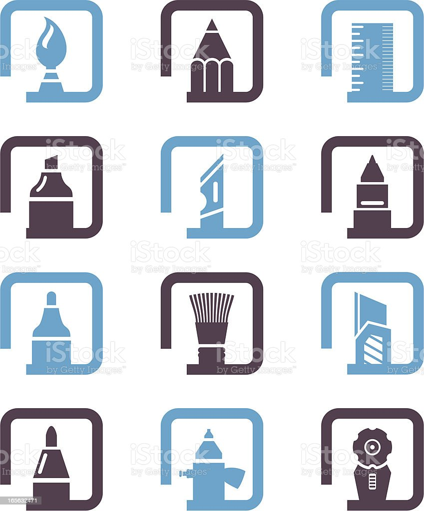 Stationery Set Icons royalty-free stock vector art