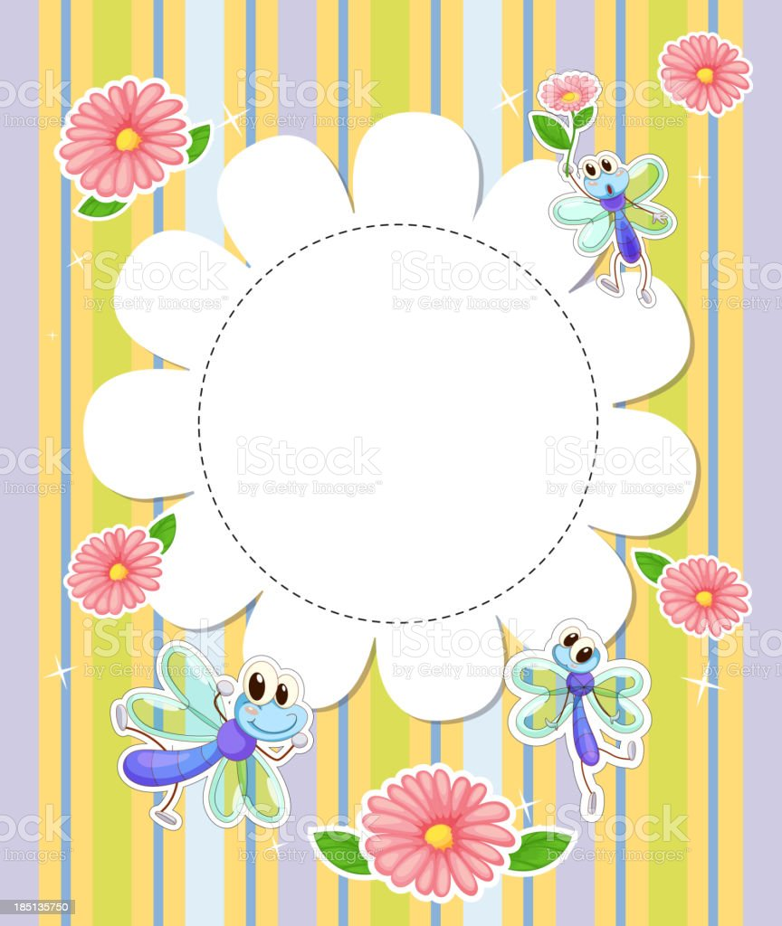 stationery template with flowers and butterflies royalty-free stock vector art