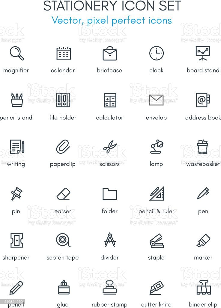 Stationery theme line icon set. vector art illustration