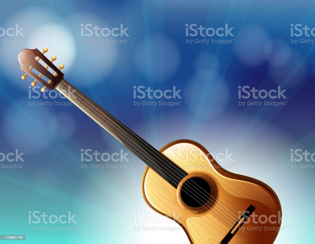 stationery with a classical guitar royalty-free stock vector art