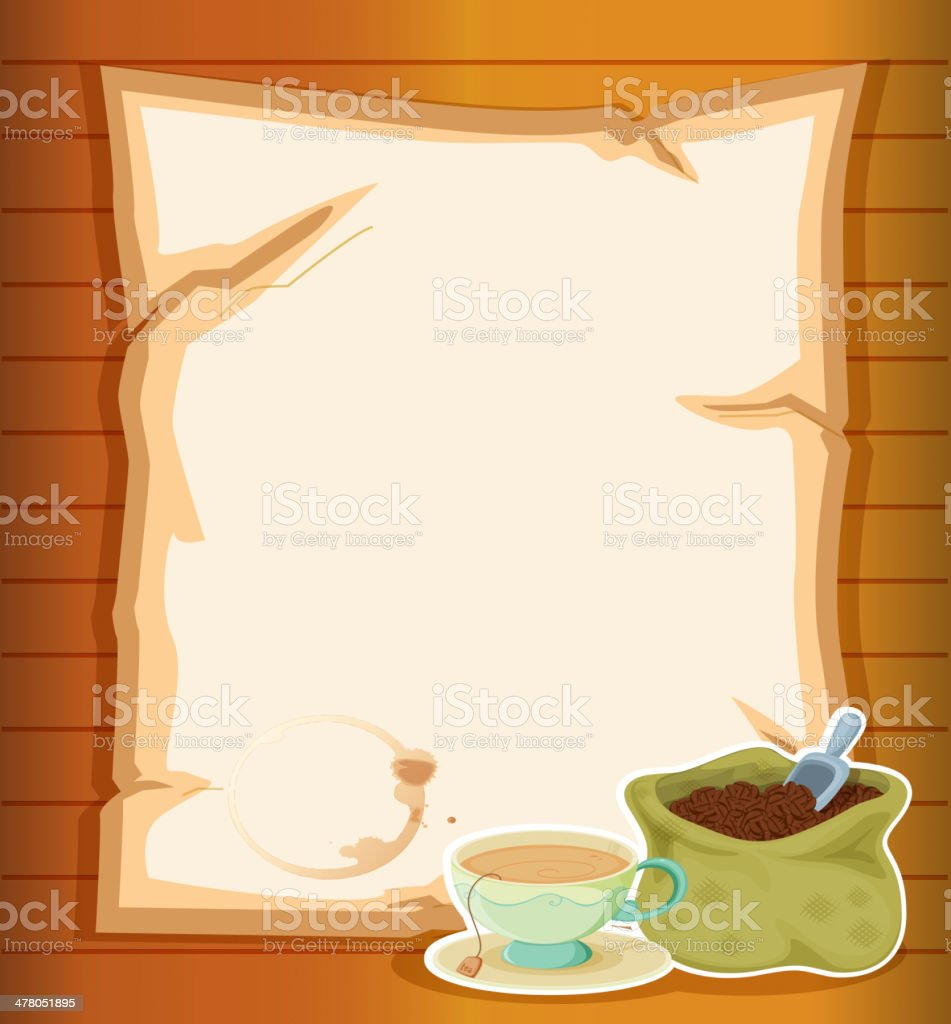 Stationery with a sack of coffee beans royalty-free stock vector art