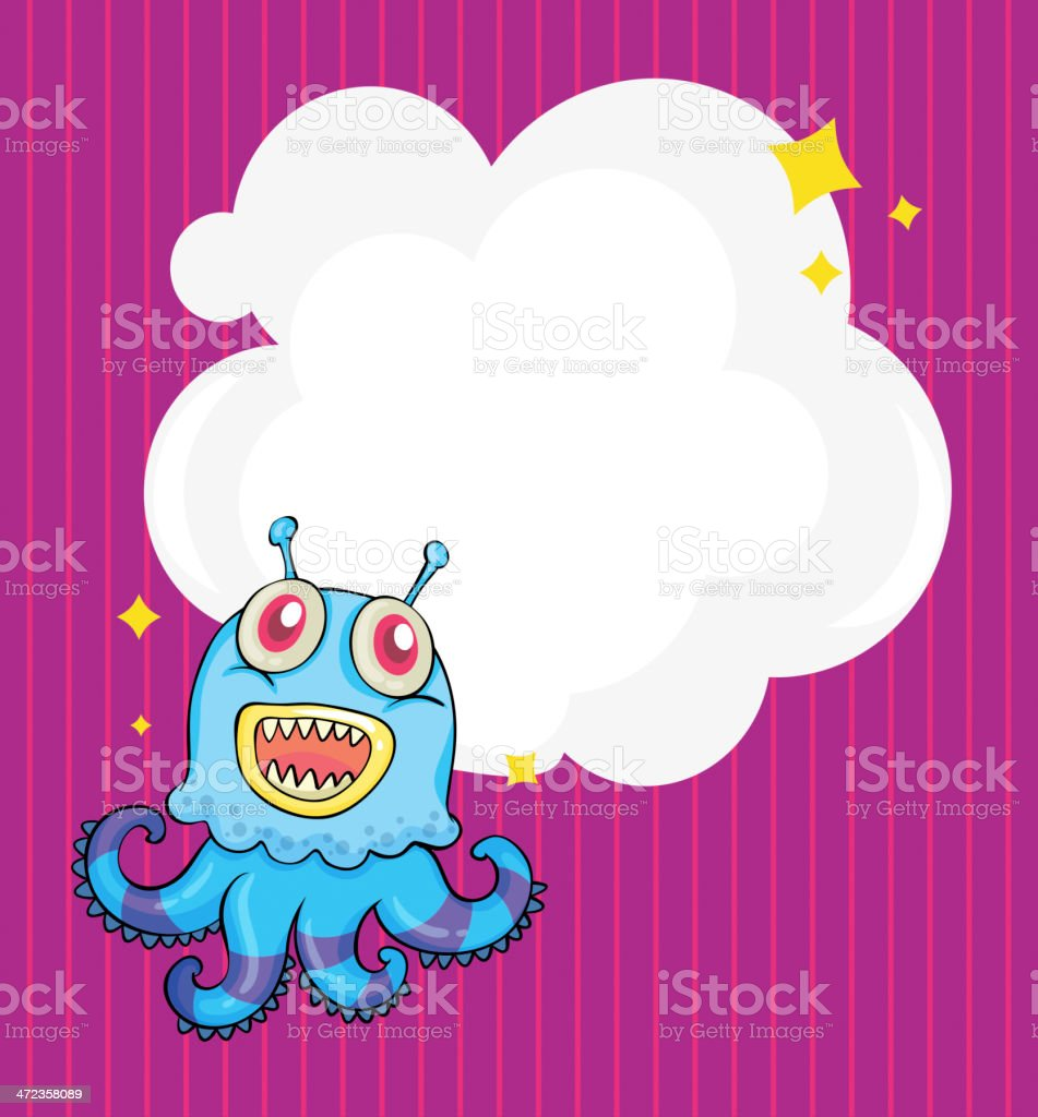 Stationery with an alien octopus royalty-free stock vector art