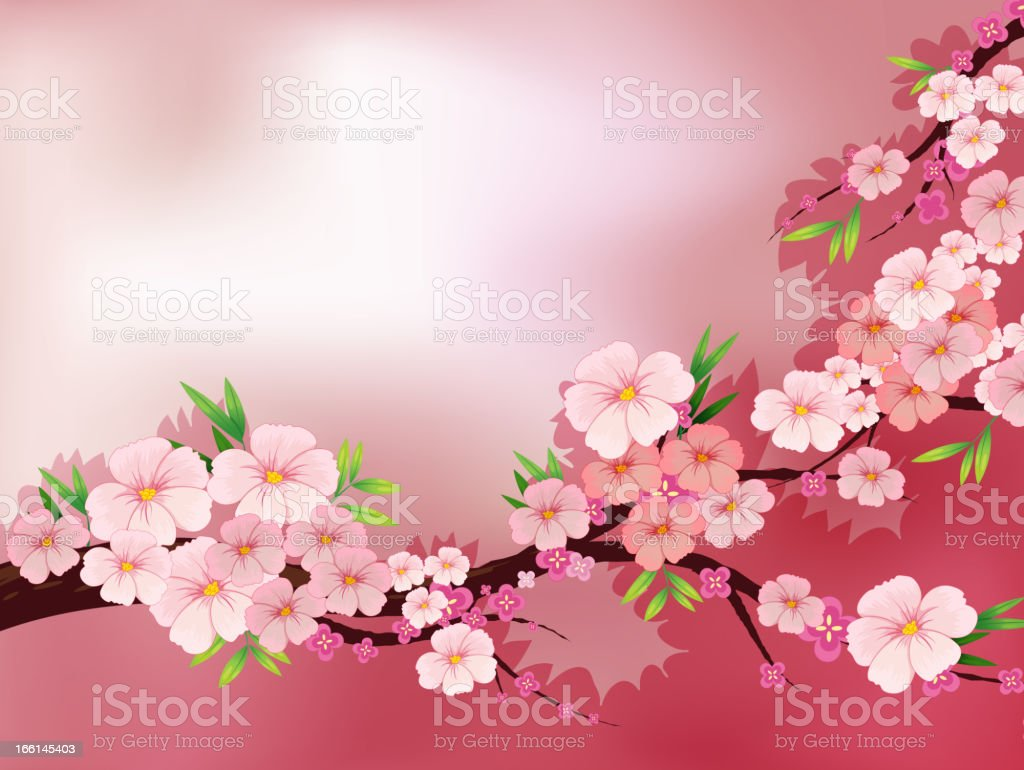 Stationery with fresh pink flowers royalty-free stock vector art