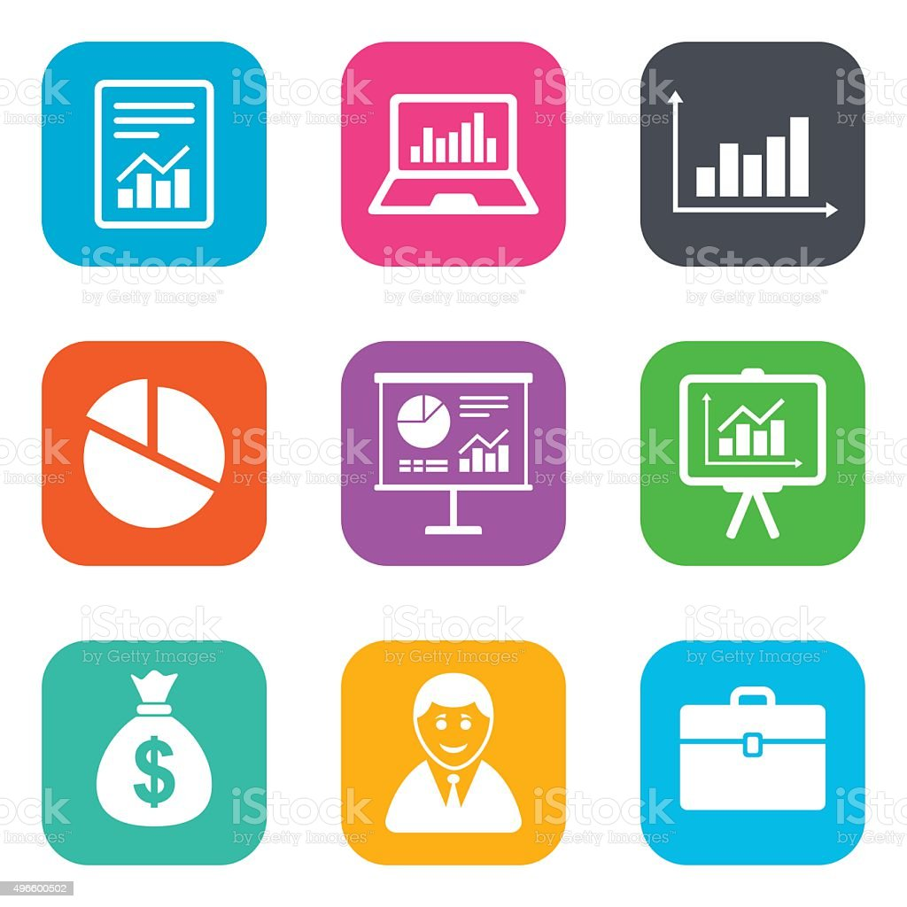 Statistics, accounting icons. Charts signs vector art illustration