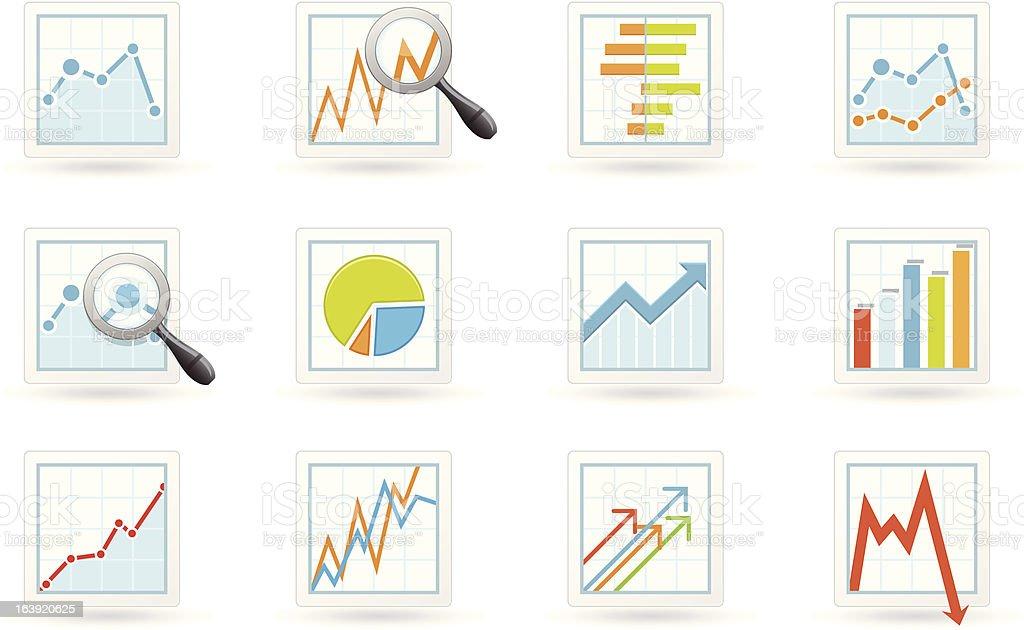 Statistics and analytics icons vector art illustration