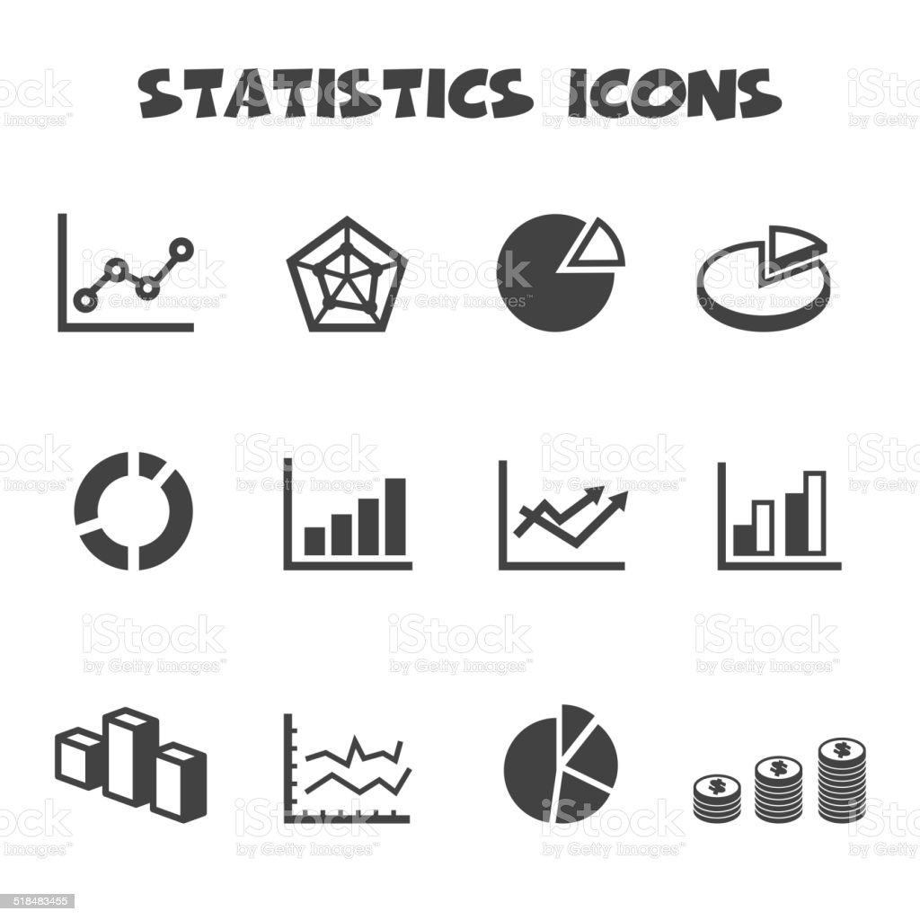 statistics icons vector art illustration