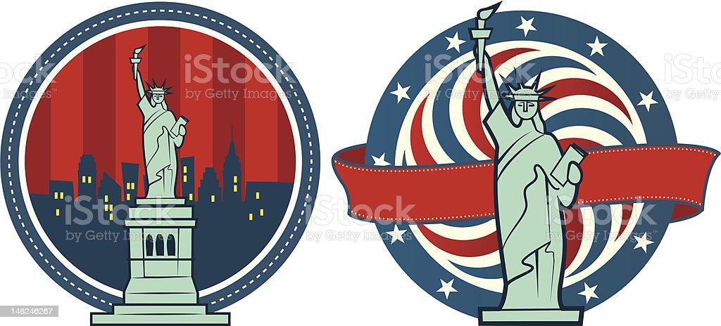 Statue of Liberty American Ribbon royalty-free stock vector art