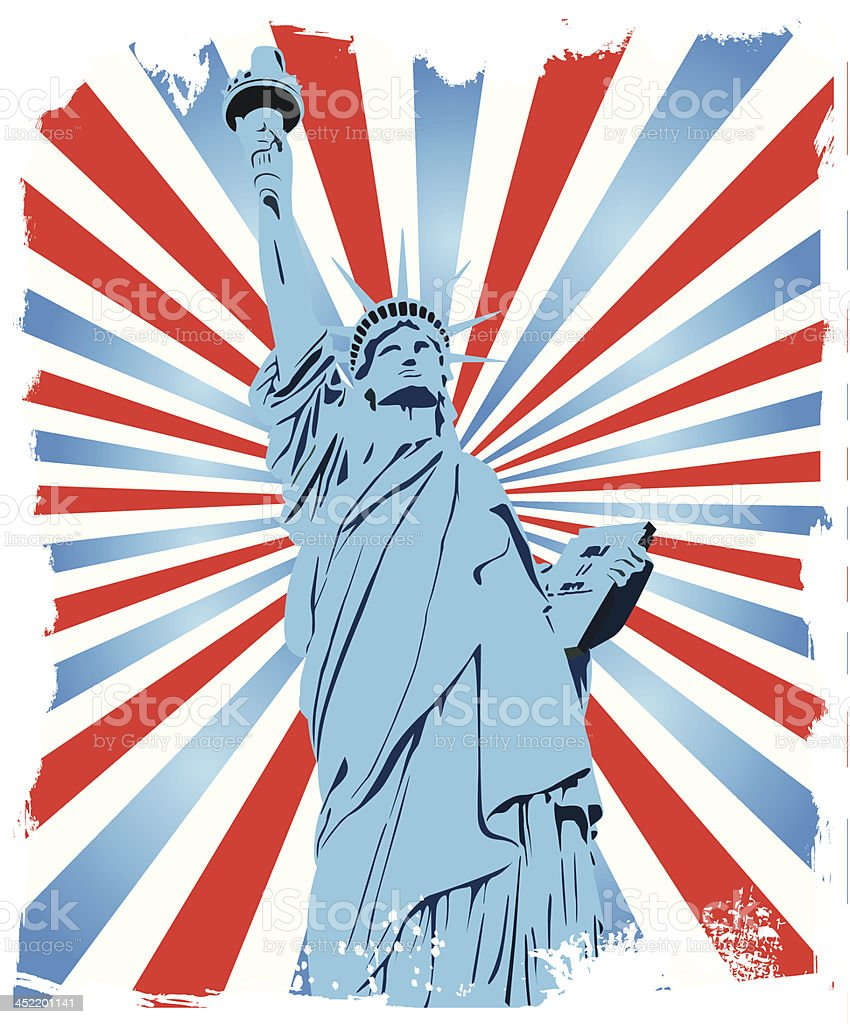 Statue of Liberty grunge background royalty-free stock vector art
