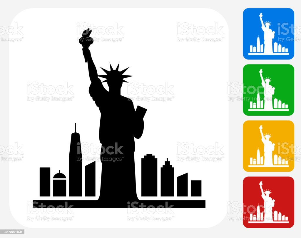 Statue of Liberty Icon Flat Graphic Design vector art illustration