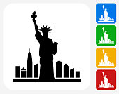 Statue of Liberty Icon Flat Graphic Design