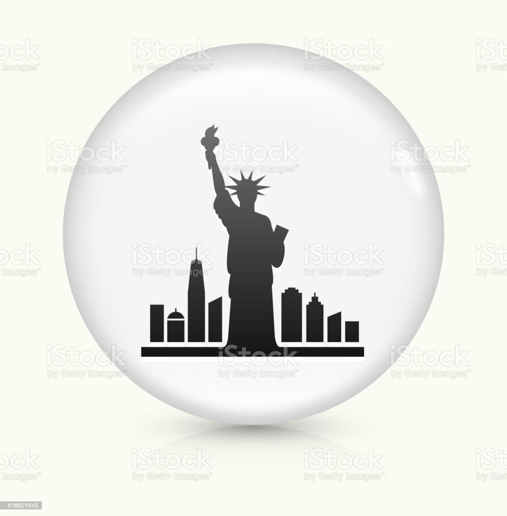 Statue of Liberty icon on white round vector button vector art illustration