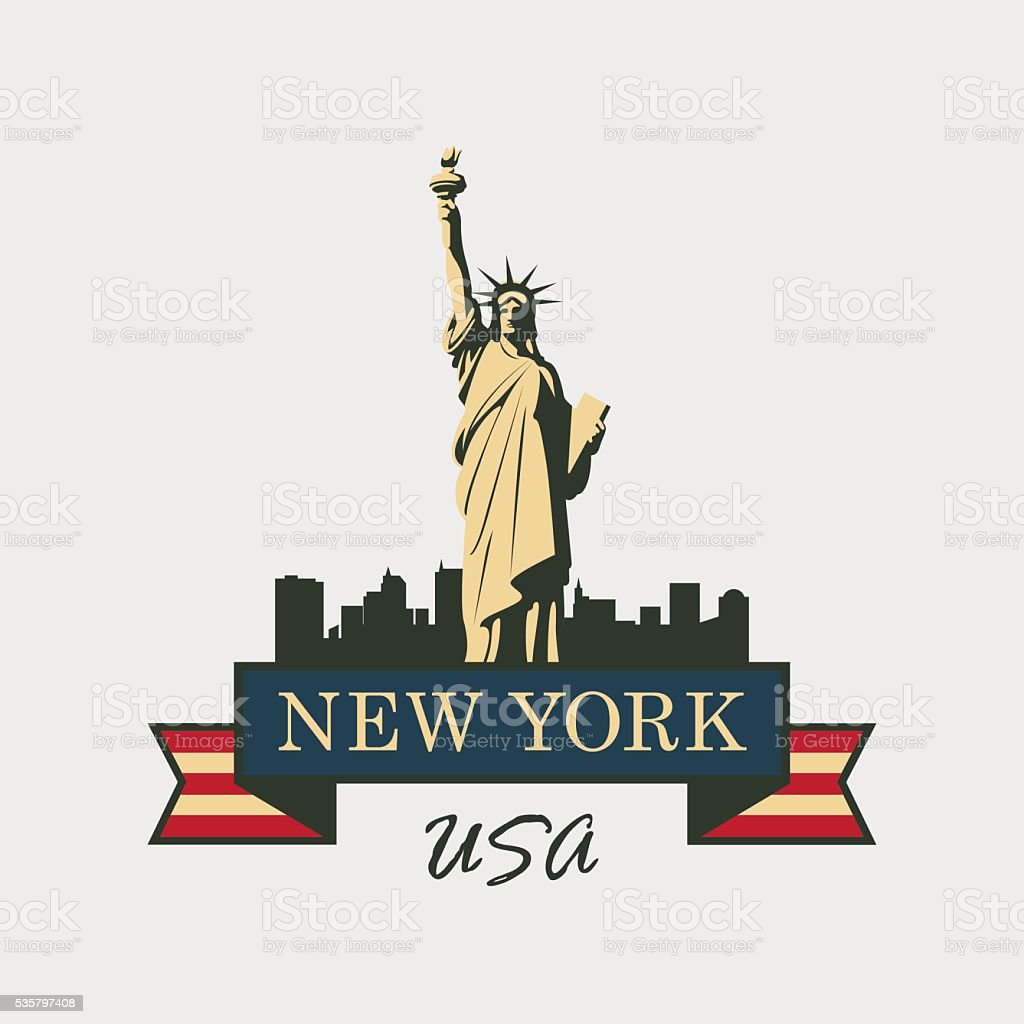 statue of Liberty in background of New York vector art illustration
