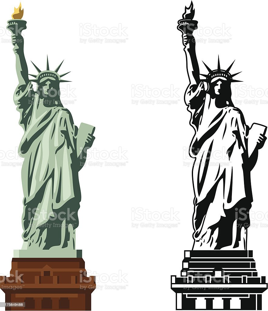 Statue of Liberty in color and B&W vector art illustration