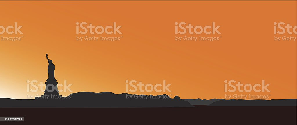 Statue of Liberty  in sunset vector art illustration