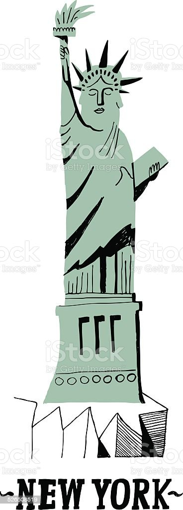Statue of Liberty in the City of New York, USA vector art illustration