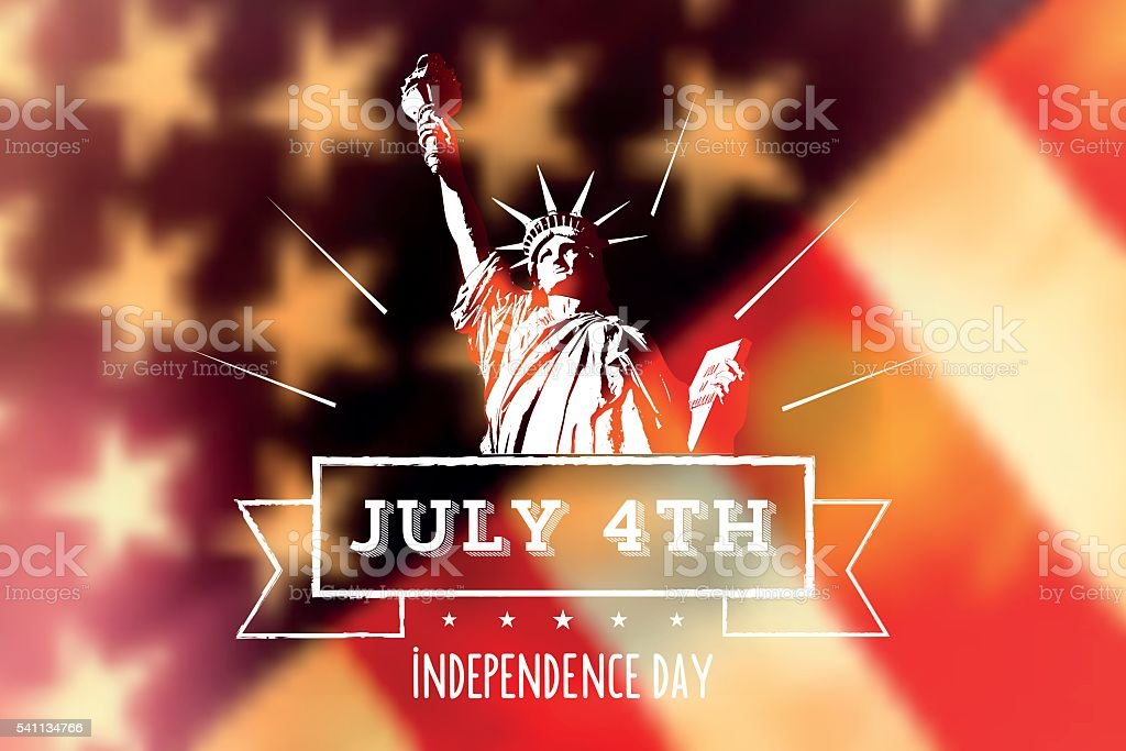 statue of liberty on blurred vintage us flag vector art illustration