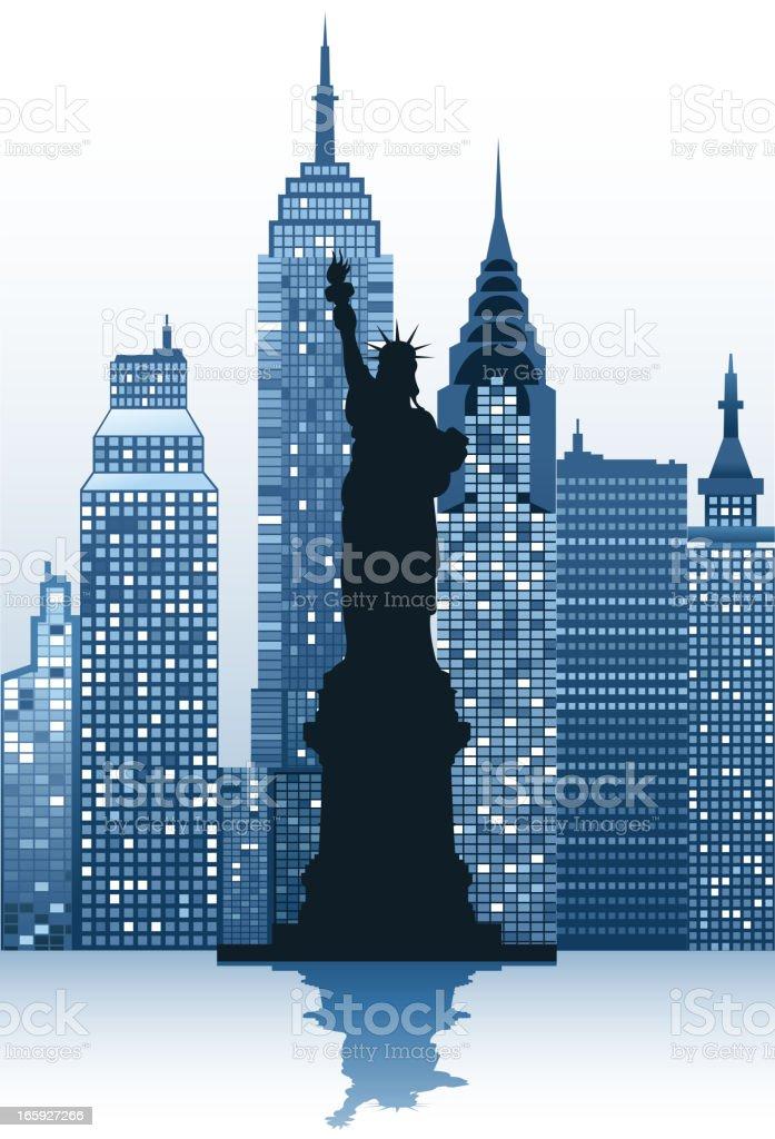 statue of liberty silhouette vector art illustration