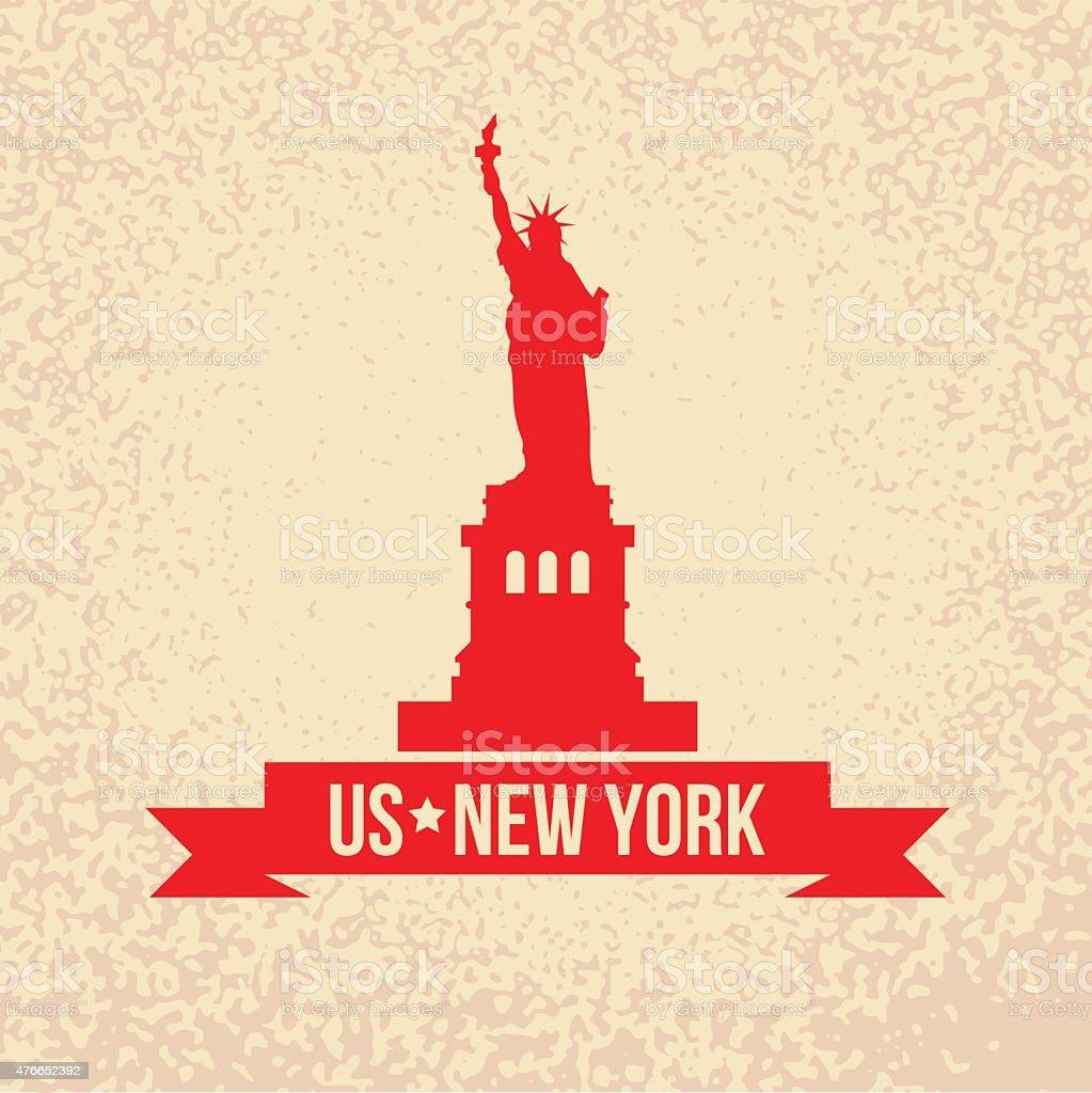 Statue Of Liberty - The symbol of US, New York. vector art illustration
