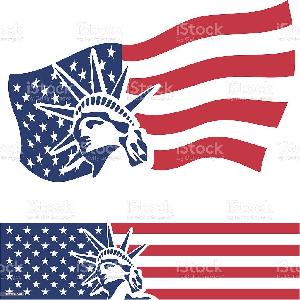 Statue of Liberty. USA flag vector art illustration