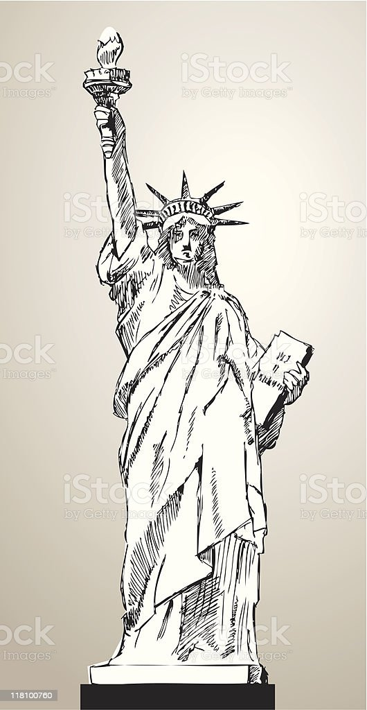 Statue of Liberty (vector) royalty-free stock vector art