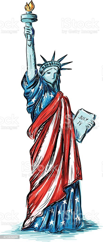 Statue of Liberty (usa flag colors) vector art illustration