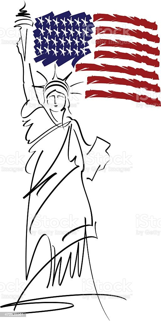 Statue of Liberty vector illustration royalty-free stock vector art