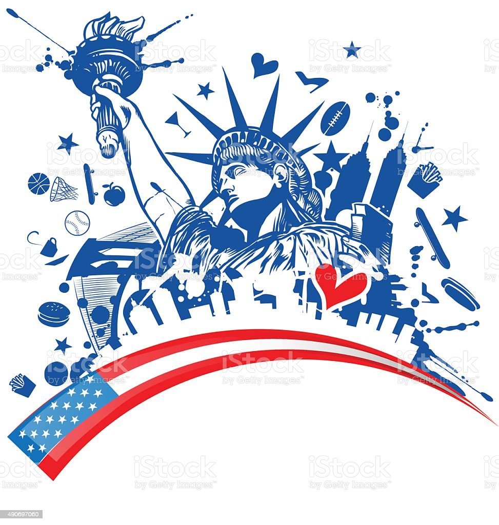 statue of liberty with icon set on flag vector art illustration
