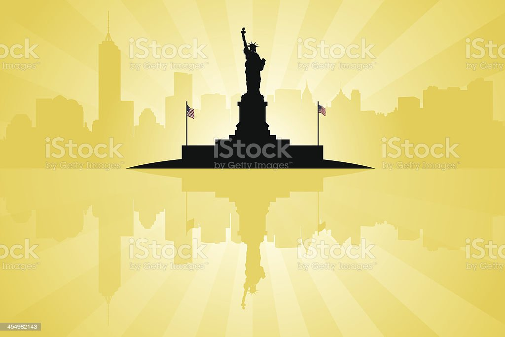 Statue of Liberty with New York City Skyline royalty-free stock vector art