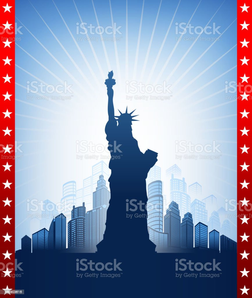 Statue of Liberty with Skyline on American Patriotic Background vector art illustration