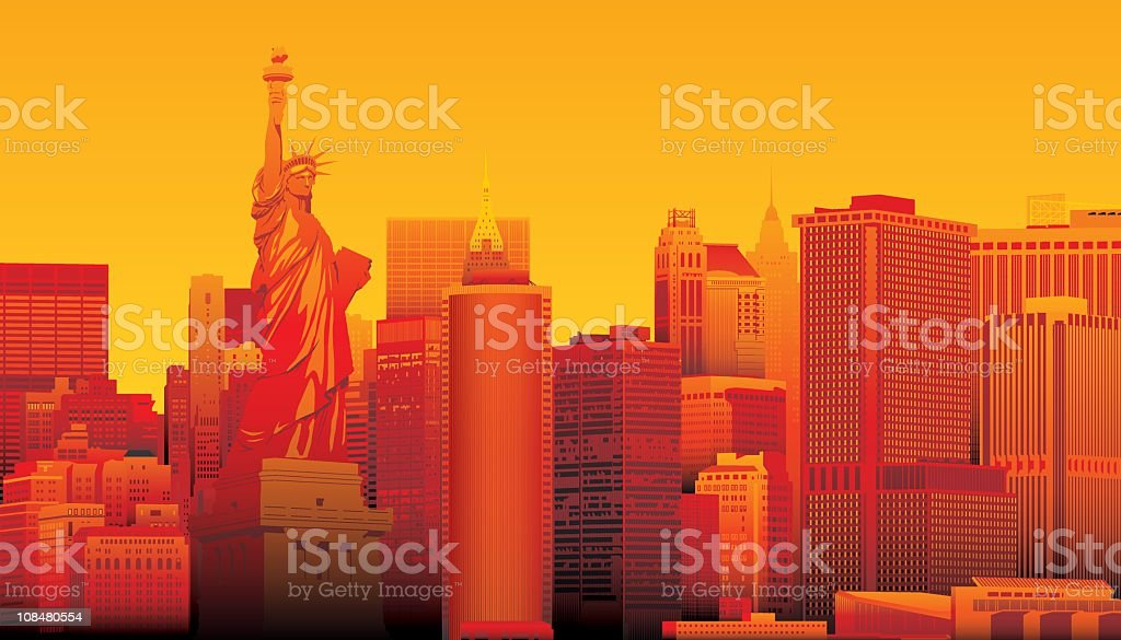 Statute of Liberty, New York vector art illustration