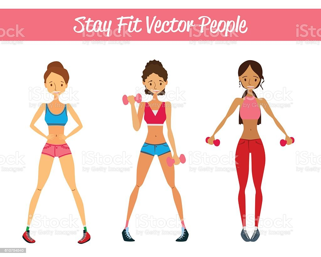 Stay Fit Vector People Set Illustration with Vector Fitness Girls vector art illustration